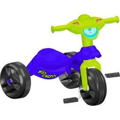Triciclo Bandeirante Kid Cross Azul, uma diversão para seu filho.    Um triciclo compacto, sempre à mão para alegrar a criançada.
