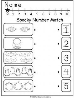 Halloween Number Match freebie that can be used anytime in October for PreK or Kindergarten.