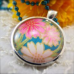 Chiyogami Pink Daisies Necklace by DandelionsSmile on Etsy, $14.00