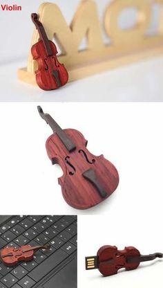 Wooden Guitar Violin USB Flash Drive