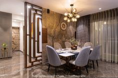 An Elegant Apartment With A Dramatic Edge Room Interior, Interior Design, Interior Work, Dining Room Design, Living Room Partition Design, Dining Area, Dining Table, White Mosaic Tiles, Black Rooms