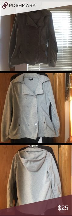 Fleece jacket with hoodie  L . No damage . Fleece warm jacket with hoodie in the back . Large . Have 2 roads of buttons , 2 pockets , hoodie.  Long sleeves with comes with snaps . Pockets also have-snaps and pretty big for big cell phone and bunch of keys . I am 5.4 130 and it works . Can fit bigger person as well . No damage . It's great warm jacket for everyday or work out outside . . Brand New look . 60% cotton and 40% polyester . Can be washed in washer . Pretty stretchy New Look Tops…