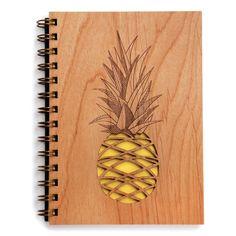 Pineapple Lasercut Wood Journal by Cardtorial on Etsy https://www.etsy.com/listing/218074780/pineapple-lasercut-wood-journal