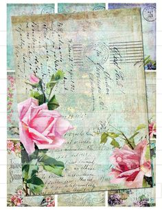 Vintage Shabby Pink Roses Chic ATC Postcards by InMyCedarChest, $3.95