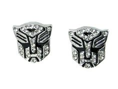 Transformer Autobot White Crystal Silver Tone Stud Earrings