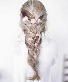 Floral Braid Hair Idea For Prom