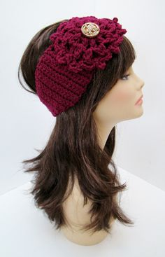"""Ear Warmer/Headband with Flower and Vintage buttons - Fuschia - FREE SHIPPING. $18.00, via Etsy. Coupon code """"Pin10"""" saves you 10%! #christmas #gift #giftguide #giftsforher #crochet #etsy #yarn"""