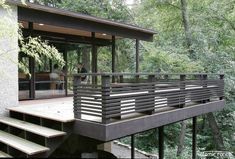 Deck Railing Ideas 654 Deck Railings A Mid Century Homes Style Modern Interior Design Decor Ideas Deck Railing Ideas On A Budget 321 – pterodactyl. Modern Railing, Wood Railing, Modern Deck, Deck Railings, Railing Ideas, Outdoor Railings, Deck Balustrade Ideas, Horizontal Deck Railing, Modern Backyard