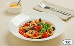 Looking for a vegetarian recipe that packs protein? Barilla Protein+ Spaghetti with Eggplant, Cherry Tomatoes, Olives & Pecorino Cheese makes a delicious meal!