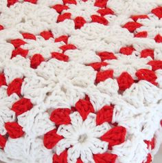 Pure Cotton Flower Granny Square Blanket in Red by WarmAndWoolly