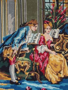 Vintage French needlepoint tapestry canvas embroidery - Marquess and marchioness with piano