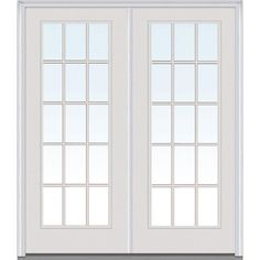 Milliken Millwork 74 in. x 81.75 in. Classic Clear Glass GBG Full Lite Painted Fiberglass Smooth Exterior Double Door, Brilliant White