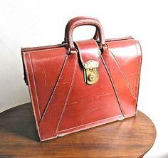 Brown Leather Attache Case Briefcase 1960s by worldvintagefashion