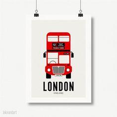 London Bus - London Art, Old Fashioned, Home Decor, Illustration Art, Children Room, Wall Art, Art Print, Retro Style - la-342