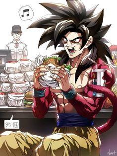 Goku Ssj 4 in mcdonals Poster Marvel, Poster Superman, Posters Batman, Manga Dbz, Fanart Manga, Manga Dragon, Dragon Ball Gt, Akira, Dbz Characters