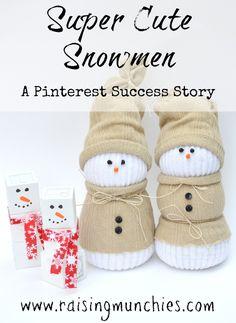 Super Cute Snowmen - These were a Pinterest Success Story - Sock, and Alphabet Block Snowmen | Raising Munchies