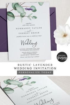 Rustic Lavender and Eucalyptus Wedding Invitation by Fresh & Yummy Paperie. The simple and elegant design features purple summer flowers and rustic green leaves with modern calligraphy. Click to customize and purchase yours today. Exclusively on Zazzle.com. #freshandyummypaperie #wedding #rusticweddingideas Lavender Wedding Invitations, Formal Wedding Invitations, Rustic Invitations, Wedding Invitation Cards, Homemade Wedding Invitations, Diy Wedding Invitations Templates, Invitation Templates, Wedding Cards, Wedding With Kids