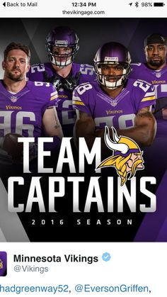 6857c1f26 Minnesota Vikings 2016 team captains Minnesota Vikings Football