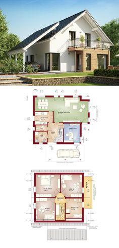 Einfamilienhaus modern mit Satteldach Carport und Erker Anbau - Haus Grundriss Evolution 143 V8 Bien Zenker Fertighaus Ideen - HausbauDirekt.de