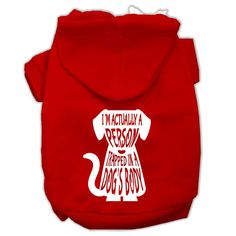 Trapped Screen Print Pet Hoodies Red Size Med (12)