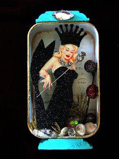 Material Girl Mermaid altered tin by fairydustedmermaids, via Flickr
