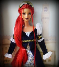 OOAK - Dolls of the World: Princess of the Renaissance Barbie red doll Custom Barbie, Custom Dolls, Play Barbie, Barbie And Ken, Doll Costume, Barbie Costumes, Barbie Collection, Ooak Dolls, Reborn Dolls