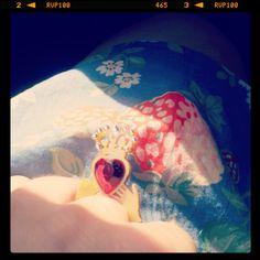 Tatty Devine ring with Cath Kidston wild strawberry print dress