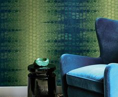 Iveagh Circles Wallpaper in Greens and Blues by Carl Robinson for Seabrook Wallcoverings