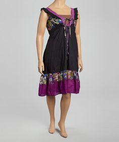 Look at this #zulilyfind! Ash & Sara Purple & Black Floral Dress - Plus by Ash & Sara #zulilyfinds