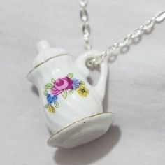 Amazon.com: Porcelain Miniature Teacup Necklace with Flower - Dainty Silver Necklace - China Cup Necklace - Miniature Teacup