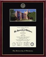 The Campus Scene Diploma Frame allows you to display your diploma with a professional photograph of your school's campus landmark or building.  Photographs are available in panoramic wide view, or full view formats, and are mounted in single or double museum-quality matting, above or alongside your diploma. Search for your college or university today!