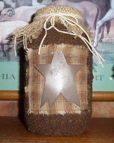 Primitive Grungy Star Quart Jar
