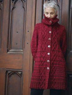 Knit Cardigan Pattern, Coat Patterns, Sweater Knitting Patterns, Lace Knitting, Knit Crochet, Hand Yoga, Fair Isle Knitting Patterns, Knitting Sweaters, Knitted Coat