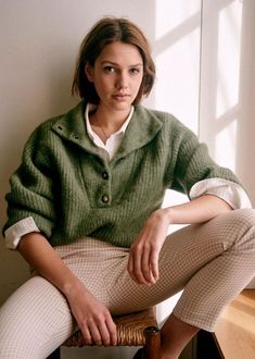MICKY JUMPER Khaki €115 Jumper, Patchwork Jeans, Parisian Style, Mode Style, High Collar, Pull, Blue Stripes, Rib Knit, Shopping