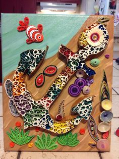 Paper Quilled Rusty Anchor Wall Art on Canvas