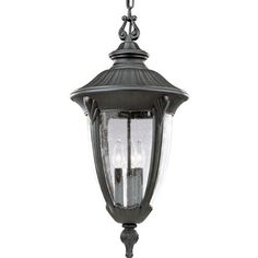 Progress Lighting P5520-31 Meridian Cast Aluminum Chain-Hung Lantern, Textured Black by Progress Lighting. $288.23. From the Manufacturer                Distinctive and stately with the feeling of old world elegance, the Meridian Collection features bold cast flourishes and fluted details. Clear, seeded glass diffuser adds rich texture and provides low-maintenance operation. Cast aluminum chain-hung lantern with clear, seeded glass. Uses (3) 60-Watt candelabra bulbs 12-Inc...