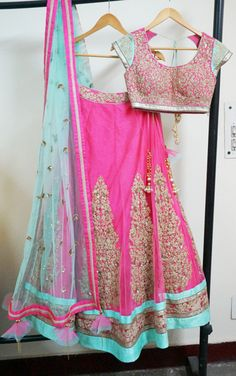 29 Ideas for indian bridal saree color combinations colour Indian Bridal Sarees, Indian Bridal Wear, Bridal Lehenga, Pink Lehenga, Lehenga Saree, Anarkali Suits, Saree Blouse, Indian Attire, Indian Ethnic Wear