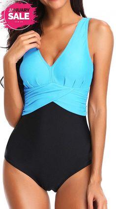 af30b846d Bettydom Plus Size Light Tummy Control One Piece Swimwear for Ladies Deep  V..