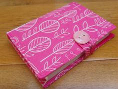 SALE! Summersville Spring pink leaf print fabric covered notepad  notebook £6.00