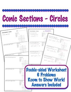 Conic sections worksheet doc