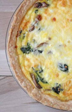 Spinach Mushroom quiche  Ingredients: 1 Tablespoon olive oil 6 ounces fresh spinach leaves 8 ounces sliced white mushrooms Salt and pepper 6 eggs 3 ounces crumbled feta cheese 1 pie crust, homemade or store bought 1 cup shredded mozzarella cheese