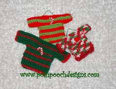 Posh Pooch Designs Dog Clothes: Mini Sweater Ornaments #Crochet Pattern @saraposhpooch