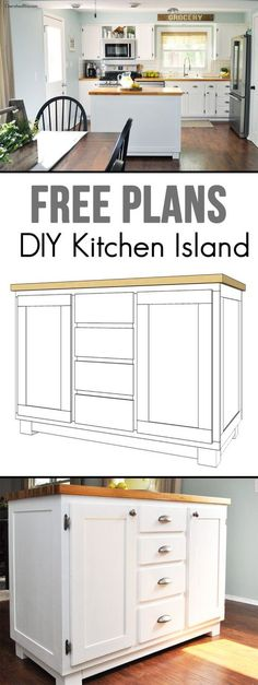 Get the kitchen you've always dreamed of by building this DIY Kitchen Island. It's easy to create and provides great storage! Get the free plans at cherishedbliss.com
