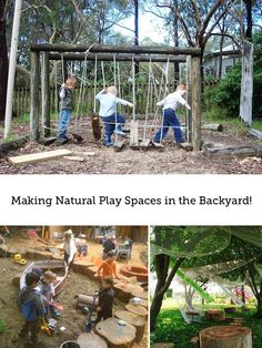 Such cool ideas on how to set up a natural play space for your kids in the backyard (part of a series) - bye, bye plastic slide - hello forts and logs! If only I had space in the backyard for anything more than the trampoline! Kids Outdoor Play, Outdoor Play Spaces, Kids Play Area, Outdoor Learning, Outdoor Fun, Outdoor Activities, Indoor Play, Backyard Play Spaces, Outdoor Games