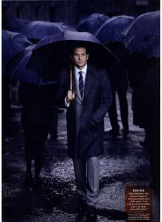 Bradley Cooper with a Canali pinstripe suit on Vanity Fair UK - January 2015…