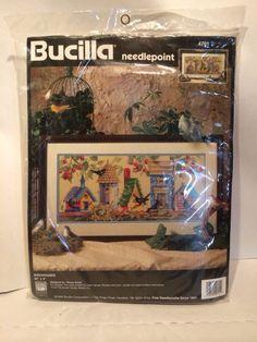 """BIRDHOUSES Needlepoint Kit Persian wool 20"""" X 9"""" retired  #Bucilla"""