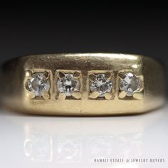 see more #vintagejewelry #estatejewelry on our website! (link on profile!) #VINTAGE FOUR STONE NATURAL DIAMOND 14K YELLOW GOLD MEN'S RING (SZ 12.5) NR #Cluster