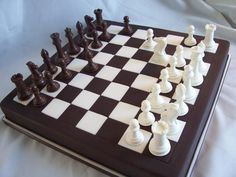 My fiancé and I aren't really dessert people, but we do like a good slice of cake and a scoop of ice cream here and there. Since the wedding is all about me (he said so), I think it would be nice to surprise him with a grooms cake. He loves chess...even though I can't really play :)