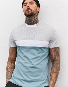 Buy ASOS DESIGN x Dark Future colour block t-shirt with contrast neck and Dark Future logo embroidery at ASOS. Get the latest trends with ASOS now. Shirt Print Design, Shirt Designs, Branded T Shirts, Printed Shirts, Casual T Shirts, Men Casual, Mens Polo T Shirts, Shirt Embroidery, T Shirt Vest