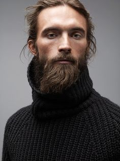 knit and a beard.... Also, I love the lighting on this portrait. What lovely soft shadows under the brow and cheek bones.